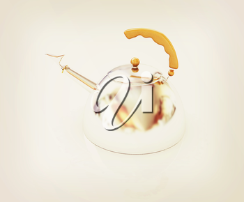 Glossy chrome kettle on a white background. 3D illustration. Vintage style.