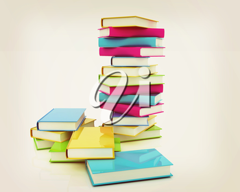 Colorful real books on white background . 3D illustration. Vintage style.