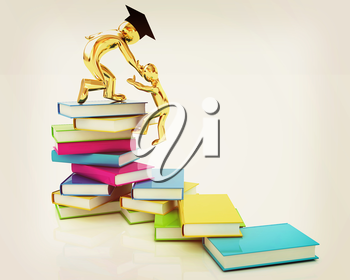 Welcome to best of knowledge! On a white background. 3D illustration. Vintage style.
