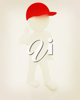 3d man in a red peaked cap with thumb up on a white background. 3D illustration. Vintage style.