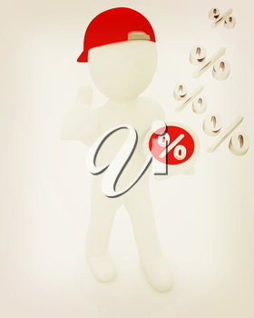 Best percent! 3d man in a red peaked cap keeps the most beneficial interest! On a white background. 3D illustration. Vintage style.