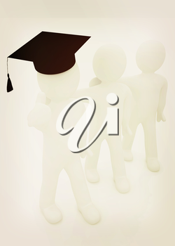 3d man in a graduation Cap with thumb up and 3d mans stand arms around each other on a white background. 3D illustration. Vintage style.