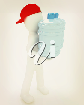 3d man carrying a water bottle with clean blue water on a white background. 3D illustration. Vintage style.