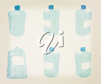 Set of bottle with clean blue water  on a white background. 3D illustration. Vintage style.