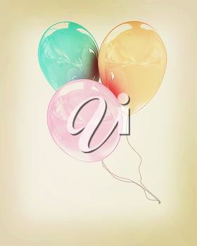 3d colorful balloons on a white background. 3D illustration. Vintage style.