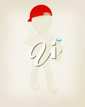 3d man with plastic milk products bottles set on a white background. 3D illustration. Vintage style.