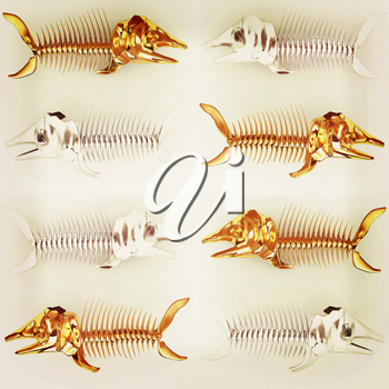 Set of 3d metall illustration of fish skeleton on a white background. 3D illustration. Vintage style.