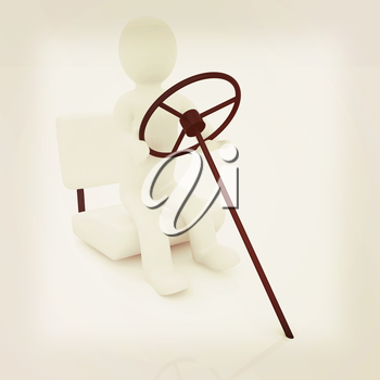 Abstract driver on a white background. 3D illustration. Vintage style.