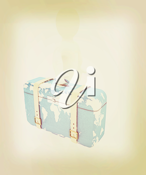 Leather suitcase for travel with 3d man on a white background. 3D illustration. Vintage style.