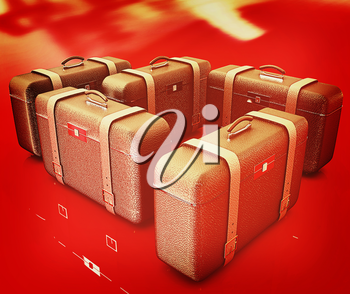 Brown traveler's suitcases. Futuristic 3d illustration . 3D illustration. Vintage style.