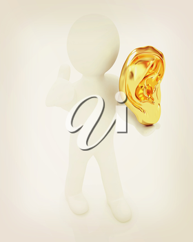 3d man with ear gold 3d render isolated on white background . 3D illustration. Vintage style.
