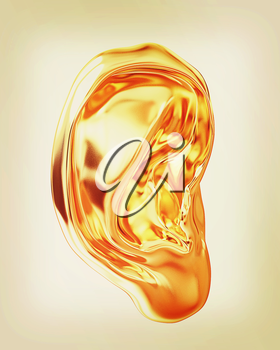 Ear gold 3d render isolated on white background . 3D illustration. Vintage style.
