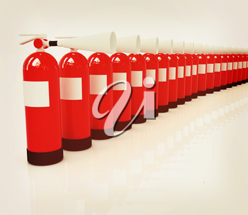 Red fire extinguishers on a white background. 3D illustration. Vintage style.