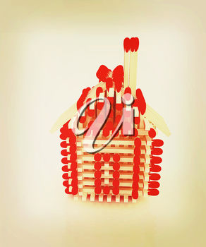 Log house from matches pattern on white . 3D illustration. Vintage style.