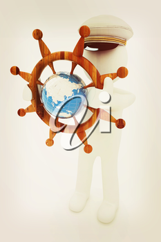 Sailor with wood steering wheel and earth. Trip around the world concept on a white background. 3D illustration. Vintage style.