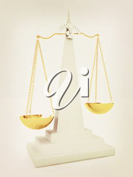 Scales on a white background. 3D illustration. Vintage style.