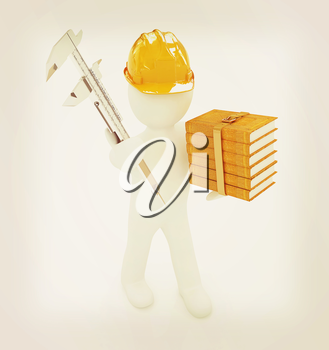 3d man engineer in hard hat with vernier caliper and best technical educational literature on a white background. 3D illustration. Vintage style.