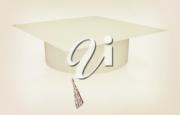 White graduation hat on a white background. 3D illustration. Vintage style.