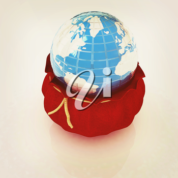Bag and earth on a white background. 3D illustration. Vintage style.