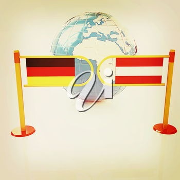 Three-dimensional image of the turnstile and flags of Germany and Austria on a white background . 3D illustration. Vintage style.