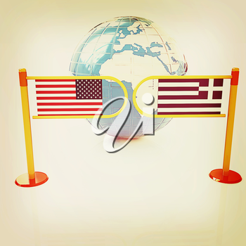 Three-dimensional image of the turnstile and flags of USA and Greece on a white background . 3D illustration. Vintage style.
