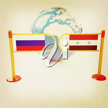 Three-dimensional image of the turnstile and flags of Russia and Syria on a white background . 3D illustration. Vintage style.