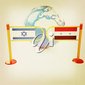 Three-dimensional image of the turnstile and flags of Israel and Syria on a white background . 3D illustration. Vintage style.