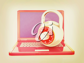 Laptop with lock.3d illustration on white isolated background.. 3D illustration. Vintage style.