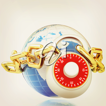 Earth globe close in chain and padlock on a white background. 3D illustration. Vintage style.