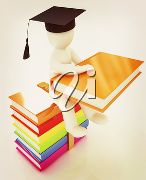 3d man in graduation hat with useful books sits on a colorful glossy boks on a white background. 3D illustration. Vintage style.