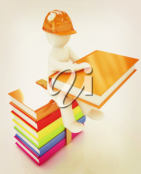 3d man in a hard hat with book sits on the colorful books on a white background. 3D illustration. Vintage style.