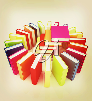 Colorful books on a white background. 3D illustration. Vintage style.