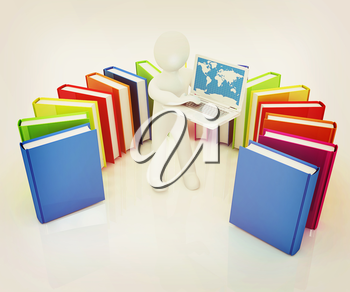 3d man sitting on books and working at his laptop on a white background. 3D illustration. Vintage style.