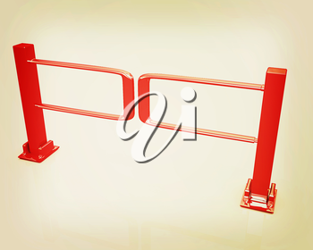 Three-dimensional image of the turnstile on a white background. 3D illustration. Vintage style.