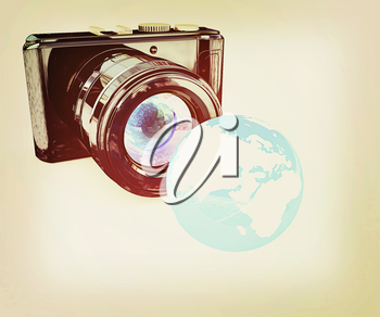 3d illustration of photographic camera and Earth on white background. 3D illustration. Vintage style.