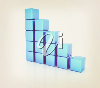 cubic diagram structure on a white background. 3D illustration. Vintage style.
