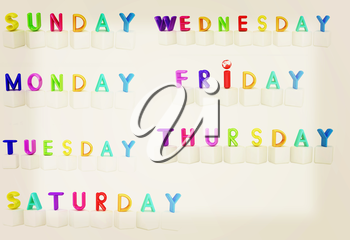 Set of 3d colorful cubes with white letters - days of the week on a white background. 3D illustration. Vintage style.