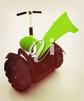 The best choice personal and ecological transport on a white background. 3D illustration. Vintage style.