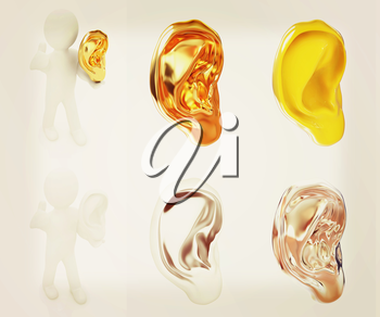 Ear set on a white background. 3D illustration. Vintage style.
