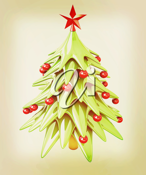 Christmas tree on a white background . 3D illustration. Vintage style.