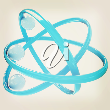 3d atom isolated on white background . 3D illustration. Vintage style.