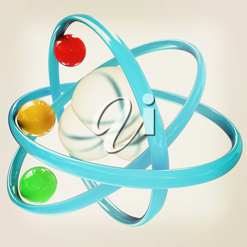 3d illustration of a water molecule isolated on white background. 3D illustration. Vintage style.