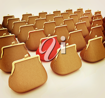 Leather purse on a white background. Investments concept. 3D illustration. Vintage style.