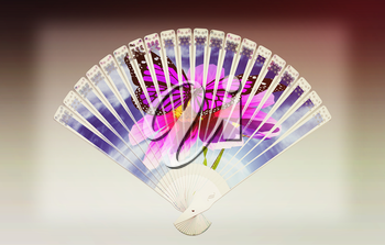 Colorful hand fan. Isolated on gray. 3D illustration. Vintage style.