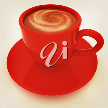 Coffee cup on saucer on a white background. 3D illustration. Vintage style.