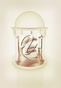 Euro sign in rotunda on a white background. 3D illustration. Vintage style.