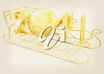 Happy New Year 2014 on white background. 3D illustration. Vintage style.