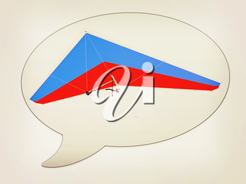 messenger window icon Hang glider. 3D illustration. Vintage style.