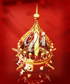 Gold crown isolated on red background . 3D illustration. Vintage style.