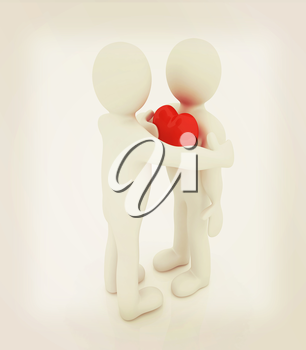 3d mans holding his hand to his heart and 3d people hug . Concept: From the heart . 3D illustration. Vintage style.